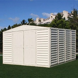Duramax 10 x 13 ft. Woodbridge Storage Shed - Additional information:Vinyl eliminates painting treating or maintenanceStrong walls allow you to hang tools and shelvesHigh headroom for use as a work spaceInstalls easily in a matter of hoursGenerous 788 cubic feet of storage roomWall height is ideal for most urban communitiesSnow load tested up to 2500 pounds on roof; wind load capacity of 115 mph15-year limited manufacturer's warrantyDoor dimensions: 5.1W x 6H feetInterior dimensions: 10.2W x 12.8D x 7.1H feet Optional foundation kit:Crafted of galvanized metals to provide secure square base for shedElevates floor (plywood floor not included) off the groundPour concrete at least one foot larger than actual dimensions Taking storage to new levels the Duramax 10 x 13 ft. Woodbridge Storage Shed is our largest storage solution for your biggest needs. From lawnmowers to snow blowers this shed has your outdoor valuables covered. Great as a work shed or a hobby house. Comes complete with or without a foundation kit for your convenience.About DuramaxWeather-tested user-approved DuraMax Sheds produces nothing but the most durable vinyl sheds vinyl garages cabins fences and greenhouses available on the market. Each of their outdoor pieces combines rigid vinyl and steel reinforcement making them weather-proof and incredibly strong. Testing their line against high winds snow loads and other extreme conditions DuraMax is committed to providing consumers with low-maintenance high-quality products.
