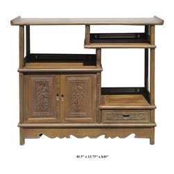 Accent Cabinets - You are looking at a Chinese hand carved chicken feather wood display cabinet. Chicken feather wood is famous for its chicken feather like wood vein.