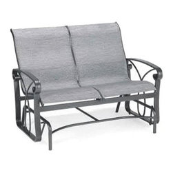 Winston Palazzo Sling Loveseat Glider - When it comes to buying a glider, you can go back and forth on buying other models, but going back and forth on the Winston Palazzo Sling Loveseat Glider is something that you'll really look forward to. This all-weather outdoor essential has a frame that's crafted from heavy-walled aluminum featuring wide arms and subtle, curving details. The sling fabric that makes up the seat and back is crafted from your choice of fabrics, giving you a truly personalized look. These outdoor fabrics are UV-resistant and easy to clean, making this a piece that can handle any climate. The gentle gliding motion comes from a series of simple hinges, so you can be confident that this soothing motion won't ever let you down.About Winston Furniture Company Started in 1975, Winston Furniture Company manufactured simple aluminum furniture with virgin vinyl straps. As the popularity of casual furniture increased and consumers craved comfort, Winston answered the call by being the first company to introduce cushioned, mildew-resistant fabrics for outdoor use. In 1982, Winston was once again at the forefront by adding stylish, easy-to-maintain sling furniture to its product line.Today, the Winston Furniture line is comprised of cushion and sling furniture with a host of styles. A variety of powder-coated paint finishes and sling colors, along with over a hundred fabric selections allow you to create just the look you need. All Winston Furniture product materials are proudly sourced in the U.S.A. Welding is completed in a state-of-the-art manufacturing facility in Juarez, Mexico. Products are shipped to El Paso, Texas for finishing and final inspection before being shipped to your door.Winston Furniture Company, Inc. has earned several design and service awards from retailers over the past 25 years. The most notable of these honors is the National Association of Casual Furniture Retailers'; (NACFR) Casual Furniture Manufacturer Leadership Award. Since th