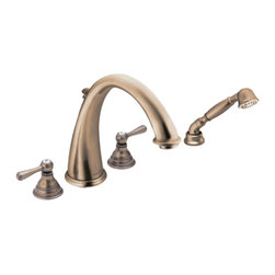"""Moen - Moen T922AZ Antique Bronze Roman Tub Trim With Hand Shower 8""""-16"""" Two-Handles - Moen T922AZ is part of the Kingsley bath collection. Moen T922AZ has an Antique Bronze finish. Moen T922AZ is a Roman Tub Trim with hand shower 4-hole 8"""" - 16"""" installation. Roman Tub faucet is a deck-mount with 9"""" long and 9 15/16"""" high arc spout for conventional styling. Moen T922AZ Roman Tub Trim with hand shower fits the MPact common valve system and requires Moen's 9992 or 9993 valve. Valve sold separately. Moen T922AZ Roman Tub Faucet trim includes a single-function hand shower with built in diverter valve. Moen T922AZ is approved by ADA. Antique Bronze is an exclusive finish from Moen and provides style and durability. Moen T922AZ metal lever handle meets all requirements ofADA ICC/ANSI A117.1 and CSA B-125, ASME A112.18.1M. Lifetime Limited Warranty and 5 Year commercial"""