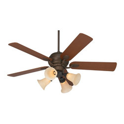 """Casa Vieja - Arts and Crafts - Mission 52"""" Casa Optima Bronze Ceiling Fan with Light Kit - Feel the cooling breeze from this trim and sleek Casa Vieja® ceiling fan. This fan features a modern oil-rubbed bronze finish motor with square teak wood blades. The 4-light light kit glows thanks to beautiful bronze scavo glass shades with graceful bell sides. Powered by a 3-speed reversible motor and comes with a 4 1/2"""" downrod. Oil-rubbed bronze finish motor. Square tip teak wood blades. Light kit takes four 40 watt candelabra bulbs (not included). 52"""" blade span. 14 degree blade pitch.  Oil-rubbed bronze finish.  52"""" blade span.  Teak finish wood blades.  14 degree blade pitch.  Includes light cap kit.  Four scavo glass bell side shades.  Includes four 40 watt candelabra bulbs.  Pull chain operated.  Fan height 12"""" from ceiling to blade (with 4 1/2"""" downrod).  Fan height 15"""" from ceiling to bottom of light kit (with 4 1/2"""" downrod).  4 1/2"""" downrod included.  Canopy is 5"""" wide and 3"""" high.  Dual mountable."""