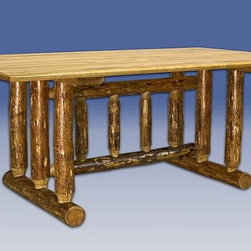 "Montana Woodworks - Glacier Country Trestle Dining Table - Classic six foot dining table. Heirloom quality design, materials and construction assure everyday use for generations to come. Accomodates six people comfortably. 20 years limited warranty. Solid pine, edge glued tabletop. Lodgepole pine legs and trestle. Hand-crafted in the US, each Montana Woodwork product is made from unprocessed, solid wood that highlights the character of its source tree with unique knots and grains. Made in USA. Minimal assembly required. 72 in. L x 40 in. W x 30 in. HThis handcrafted trestle-based dining table from Montana Woodworks is sure to leave a lasting impression on your family and guests! Finished in the ""Glacier Country"" collection style for a truly unique, one-of-a-kind look reminiscent of the Grand Lodges of the Rockies, circa 1900."