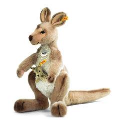 Steiff - Steiff Kanga Kangaroo with Baby - Steiff Kanga Kangaroo with Baby is made of cuddly soft beige tipped woven plush. Machine washable. Ages 3 and up. Handmade by Steiff of Germany.