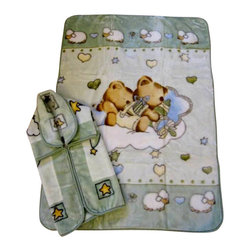 "Baby Mink Blanket and Baby Snuggle Set - 2 pcs, Green - A great gift for all parents and babies! This is a great set, includes 1 Baby Blanket (43x55"") and 1 Baby snuggle/wrap (32x36"") for the baby. These blankets are carefully made with high quality material to provide warmth and comfort to the little one!"