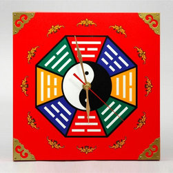 Oriental Unlimted - Dynasty Yin and Yang Wall Clock - 9 inch square wall clock with yin & yang bagua. Battery not included