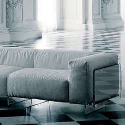 Glas Italia - Glas Italia Crystal Lounge Sofa - A unique sofa that is made of glass. Shaped, tempered extralight glass. Soft, removable cushions available in white, black, red, or blue fabric. The glass is glued together using an elastic adhesive, which may result in minor imperfections. The sofa is available in a 2-seat composition or a 3-seat composition. Price includes shipping to the USA. Manufactured by Glas Italia.