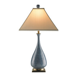 Currey and Company - Courtship Table Lamp - The Courtship Table Lamp with its delicate slender neck bottle shape uses blue quite effectively with black in its tone on tone blue shell motif. The subtle nature of this combination of colors gives a strong steadfast interpretation of the color blue for a conservative, but sophisticated look.