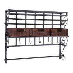 Olivia Wall-Mount Craft Storage Rack with Baskets, Black