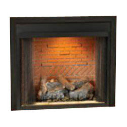 "Empire - Deluxe 36"" Vent-Free Firebox - Flush Face Refractory Liner - The Breckenridge Heat Circulating Firebox has open, standard black louvers for maximum heat distribution. All of Empire's Breckenridge Vent-Free Universal Fireboxes are zero clearance certified and are easy to install with a quick gas hook-up."