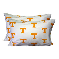 College Covers - NCAA Tennessee Volunteers Pillowcases Two-Pack White Set - Features: