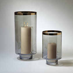"Global Views - Global Views Twilight Hurricane - The Twilight hurricane from Global Views lends a soothing ambiance to contemporary interiors. With simple gold trim, this smoky cylindrical glass decor delivers relaxing light.  Available in small and large sizes; Small holds 4""Dia pillar candle; Large holds 4""Dia pillar candle; Small: 8.5"" Dia x 14.5""H; Large: 10"" Dia x 22""H"