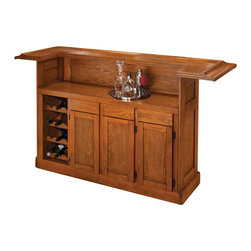 Hillsdale Furniture - Hillsdale Classic Oak Large Home Bar - With a beautiful oak finish and black footrest, this bar has classic styling. Cabinets and drawers provide ample storage space. Made of oak and oak veneers. The matching stools are the perfect fit into the bachelor or married man's home. Comfy padded tilt and swivel seats on the bar stool provide comfort for hours of continuous play.