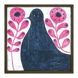 Kathy Kuo Home - Black Bird in Pink Reclaimed Wood Vintage Wall Art - Small - Strutting its way through stylized pink flowers, this blackbird has primitive presence. It's giclee printed to preserve the beauty and charm of the original and is available in two sizes. Bring it home to roost for a whimsical note for your walls.