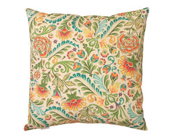 Manual - Pair of Old World Tapestry Damask Print Indoor / Outdoor Throw Pillows - This pair of 18 inch by 18 inch woven throw pillows adds a wonderful accent to your home or patio. The pillows have ClimaWeave weatherproof exteriors, that resist both moisture and fading. The front and back of the pillows have the same print, a vintage multicolor floral damask. They have 100% polyester stuffing. These pillows are crafted with pride in the Blue Ridge Mountains of North Carolina, and add a quality accent to your home. They make great gifts for flower lovers.
