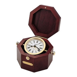 BULOVA - Quartermaster Wood/Brass Table Alarm Clock - Nautical Decor - Solid wood chest, mahogany finish.