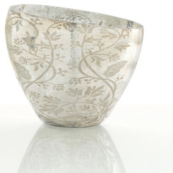 Naples Glass Vase - Achieve the look of a graceful, glamorous antique styling in your room when you add the Naples Glass Vase to a bath, bedroom, or living space's romantic appointments.  Made from glass with a charming woodland vine pattern in a medium metallic hue on a field of rich silver, the artful vase contributes the on-trend look of mixed metals to your d�cor in a handsome traditional style.