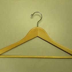 Proman Products - Gemini-Concave Suit Hanger With Wooden Bar - Gemini-concave suit hanger with wooden bar, natural lacquer, chrome, 100 pcs/case