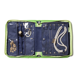 "Clos-ette Too - Signature Travel Jewelry Case, Green by Clos-ette Too - It's the ""Birkin"" of jewelry organizers Our best-selling Travel Jewelry Case is as chic as it is functional. A waterproof linen exterior won't wear and wipes clean. Inside, three ultra-suede pages feature special compartments for all types of jewelry. Roomy enough to handle bulky costume and statement jewelry, each page is covered in plastic, ensuring your favorite pieces never tangle. Snap-together pages allow you to remove individual pages for traveling light, or add additional pages to accommodate your entire jewelry wardrobe."