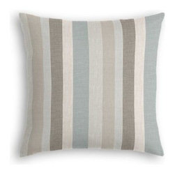 Soft Aqua & Tan Linen Stripe Custom Throw Pillow - The every-style accent pillow: this Simple Throw Pillow works in any space.  Perfectly cut to be extra fluffy, you'll not only love admiring it from afar but snuggling up to it too! We love it in this classic linen stripe in beachy tones of sand, aqua and taupe with a slight luxurious sheen.