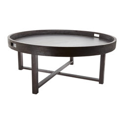 Lazy Susan - Lazy Susan 784059 Round Black Teak Coffee Table Tray - Style is brewing. This coffee table really means business, with a 42-inch round tray on top of its classic and modern X base. It's all handcrafted of teak in a hand-applied espresso finish.