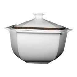 Bernardaud - Bernardaud Prince Noir Covered Sugar Bowl - Bernardaud Prince Noir Covered Sugar Bowl