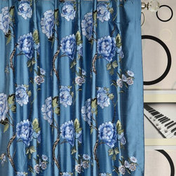 Blue Embroidered Floral Dupioni silk curtains - Really nice embroidered dupioni silk curtain drapery! Romance your windows with silk curtains in embroidered peony patterns and embrace a full blossom with your heart every day.