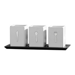 Lifetime Brands - Ceramic Caddy Tray, 3 Pieces - Towle Living 3 Piece Square Ceramic Caddy on Wood Tray - White