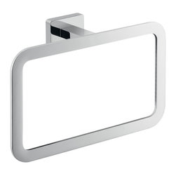 Gedy - Square Wall Mounted Polished Chrome Towel Ring - Square towel ring for hand towel.