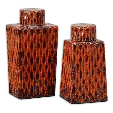 Uttermost - Uttermost 19504 Raisa Burnt Orange Containers - Uttermost 19504 Raisa Burnt Orange Containers