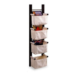Winsome - Linea Magazine Rack - With a dark espresso finish and the ability to hang vertically or horizontally, this magazine rack is a convenient and attractive storage unit. Its 4 canvas baskets are exactly what you need to keep your bathroom in order. Features: -Canvas baskets.-Can hang vertically or horizontally.-Dark espresso finish.-NOTE: Please be aware that we are unable to ship this product to Puerto Rico. ..-Collection: Linea.-Distressed: No.Dimensions: -44'' H x 12'' W x 7'' D, 8 lbs.-Overall Product Weight: 8 lbs.