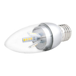 E27 LED Decorative Bulb - 9W Blunt Tip Candle Shape - E27-xW24SMD-C series candle type LED replacement bulb for traditional medium screw base lamps. Light output comparable to 40~45 Watt incandescent bulbs. Consumes 9 Watts of power using 24 high power 5630SMD White LEDs. Available in Cool White or Warm White with 360° beam pattern