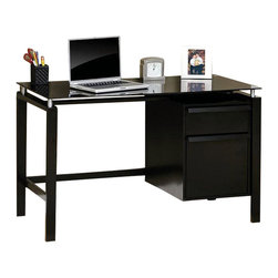 Sauder - Sauder Lake Point Desk in Black - Sauder - Computer Desks - 408916 - Sure, lots of office and home furnishing manufacturers can help you create an organized, comfortable and fashionable place to live. But Sauder provides a special kind of furniture that is practical and affordable, as well as attractive and enduring. As North America's leading producer of ready-to-assemble furniture, we offer more than 500 items that have won national design awards and generated thousands of letters of gratitude from satisfied consumers.