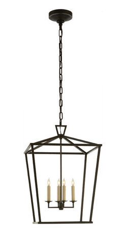 Darlana Medium Lantern, Aged Iron - Bring the ambience of lantern light indoors. With four luminous lights alluringly caged in aged iron, this pendant promises to hang handsomely in your entryway, dining room or living space.