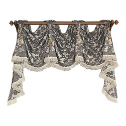 RLF Home - Bridget Victory Swag, Flax, 2 Scoop - Elegant, sophisticated and rich with texture, the Bridget Victory Swag shows-off lavish trim and chair-tie accents as shown.  Fashioned with front-tabs for displaying on a decorative pole, this style is will add a touch-of-class to any décor. This valance is 53% Polyester/47% Viscose, unlined, and available in colors Flax and Spray.