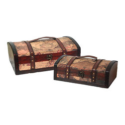 Old World Map Treasure Chest Set of 2 - Decorative trunk that is great for storage and decoration Great Tressure Box Leather wood trunk Old Fashioned hardware adds to antique look Our warm and welcoming steamer trunk brings back days of old time. Remember how excited you are when you were a little kid to look into your grandma's old chest, our decorative trunks will bring back those memories and help you create some new ones too. Our hope chest boxes are all handcrafted and tailored to enhance the existing decor of any room in the home. Great to use for your very own treasure chest!
