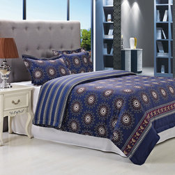 None - Poplar Blue 300 Thread Count Cotton Duvet Cover Set - Add some fun to your style with the Poplar 300 thread count cotton duvet cover set. Featuring a circular floral print with a linear design on the reverse side,you can't go wrong with this beautifully artistic duvet.