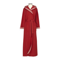 Nine Space - Striped Trim Jersey Knit Robe, Small, Cranberry - Lounge in luxury with this hooded robe. Made from a soft, jersey knit, it's just the right weight to provide lightweight warmth year-round, whether wrapping up after a relaxing bath or emerging from the pool.