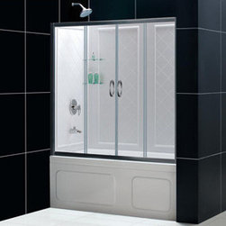 BathAuthority LLC dba Dreamline - Visions Clear Glass Tub Door and Qwall-tub BackWall - The Visions Tub Door and Backwall Kit is a beautiful way to makeover your bath tub space. The Visions tub door has four sliding glass panels that open from the middle point. The unique center opening is an excellent design solution when traditional right or left opening tub or shower doors prove to be an awkward choice for your bathroom renovation. The Visions sliding tub and shower doors utilize fast release wheels, so you can easily clean the glass and track. The kit combines the sleek look of the Visions Sliding tub door with durable and attractive tub BackWall panels for a complete bath tub transformation.