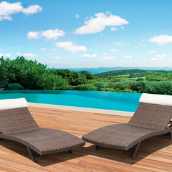 Atlantic - Mykonos Deluxe Loungers Brown (Set of 2) - The Mykonos deluxe stackable lounger combines quality, style and comfort. Crafted with a high-quality aluminum frame and synthetic wicker shell, this durable and innovate lounge chair delivers modern style, comfort and outdoor charm.