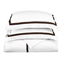 "Hotel Collection 300 Thread Count Cotton White/Chocolate Standard Pillowcase Set - A hotel luxury way to decorate your bedroom with a 300 Thread Count Pillowcase Set. The perfect complement to a guest bedroom or master suite! These 300 thread count pillowcases of premium long-staple cotton are ""sateen"" because they are woven to display a lustrous sheen that resembles satin. Coordinate with our Hotel Collection Duvet Cover Sets and Bed-skirts! Set includes Two Pillowcases 20x30 each."