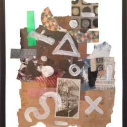 """Abstraction  [3]"" (Original) By Elliott C  Nathan - I Created This Mixed Media Painting Through A Train Of Thought Painting Process Overlaid On A Collage Of Documents From The Early 1900'S, And Patterned Papers. It Hangs In A Clear Glass Frame."