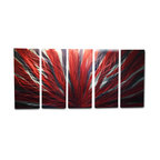 Miles Shay - Metal Wall Art Decor Abstract Contemporary Modern- Radiance Large Red Black - This Abstract Metal Wall Art & Sculpture captures the interplay of the highlights and shadows and creates a new three dimensional sense of movement as your view it from different angles.