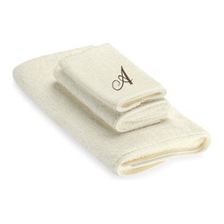 Avanti Premier Brown Script Monogram On Ivory Bath Towel - What could make you feel more luxurious than a plush set of towels with your own initial embroidered right into them? Not much, if you ask me!