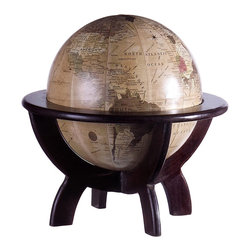 iMax - iMax Globe on Stand- Set of 2 X-5245 - Test your geography skills with the desk globe on wood stand