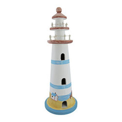 Hand Painted Wooden Lighthouse Statue Nautical - This beautiful hand painted lighthouse statue is a great addition to any room with a nautical theme. The lighthouse measures 14 1/2 inches tall, 5 inches in diameter. It has cotton string accents on the top handrails. This beautiful piece makes a great gift for any lighthouse collector.