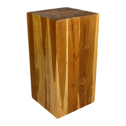 Strata Furniture - Teak Hollow Block, 12x23 - Teak Blocks are made from true Thai Teak and finished in an eco-friendly Livos Black Walnut Oil. Measuring 23 inches high and 12-by-12 inches in width, this Teak Hollow Block features visible tree rings throughout the piece and will make an incredible end table, display stand, or stool.  As with all natural exotic wood products there will be some slight variation in color, texture, and finish color. There will be various separations or cracks on your piece when it arrives - these naturally occurred as the wood was dried and shrank. These variations do not compromise the structural performance or integrity of the wood and are considered inherent to the natural beauty of the design. These variations are not considered flaws and not acceptable reasons for returns.