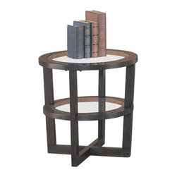 Homelegance - Homelegance Vista Round End Table in Espresso Cherry - Sleek lines and bold curves surround the glass tops of the Vista collection. The collection features an espresso cherry finish and Inset display shelves.