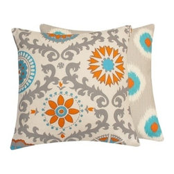 Chloe and Olive - Ikat Suzani Turquoise/Orange Square Throw Pillow - Accent your living space with the youthful and breezy feel of whimsical throw pillows.