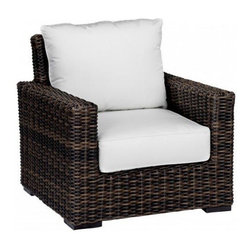 5 Piece Montecito Outdoor Loveseat Sofa Set by Sunset West - Make your patio or backyard your household's favorite place to relax with the addition of the 5 Pc. Montecito Loveseat Sofa Set by Sunset West (2501-235Pc). Featuring 2 club chairs to go along with a loveseat, the set seats up to 4 adults very comfortably. The Sunbrella brand cushions provide not only deep seating comfort, but also unmatched lifespan and protection against the elements. The comfort of the Montecito collection is matched by its style, as the extra wide, half round wicker features a cognac finish that provides a bold and unique look that will stand out on your patio. The wicker is also made to last as it is made from high-density polyethylene (HDPE) that is resistant to splitting and fading.