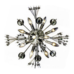 Worldwide Lighting - Starburst 10 light Chrome Finish with Clear Crystal Wall Sconce - This stunning 10-light wall sconce only uses the best quality material and workmanship ensuring a beautiful heirloom quality piece. Featuring a radiant chrome finish and finely cut premium grade clear crystals with a lead content of 30%, this elegant wall sconce will give any room sparkle and glamour. Worldwide Lighting Corporation is a premier designer manufacturer and direct importer of fine quality chandeliers, surface mounts, and sconces for your home at a reasonable price. You will find unmatched quality and artistry in every luminaire we manufacture.